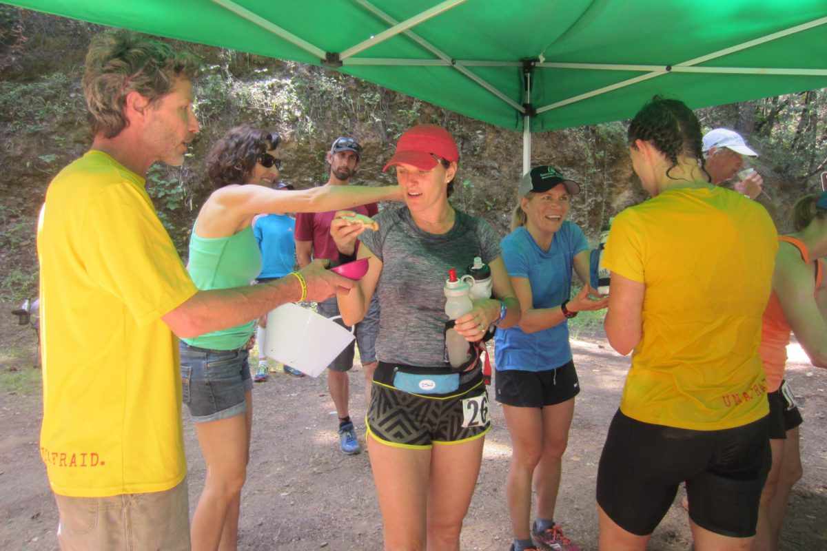 Jennifer Hemmen and Helen Pelster receive the royal treatment at the DPMR Aid Station. Photo by Barb Ashe