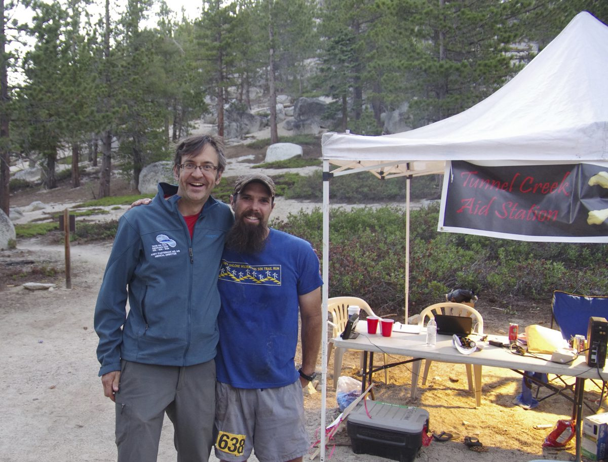 Andy with runner Chet Fairbank at the Tunnel Creek Aid Station at the TRT Endurance Runs. (Photo courtesy Andy Pasternack)