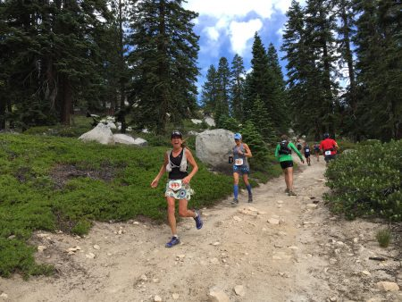 Kathy Hess heading down into the Red House Loop. photo by Jenelle