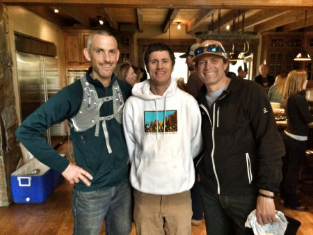 Jon Emis (wearing his raffle prize), Pete Broomhall and Jeff Reifers are all smiles. Photo: Helen Pelster