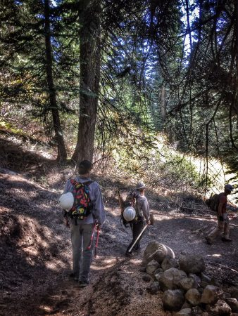 Hiking back down after a solid day of trail work. Photo: Jenelle Potvin