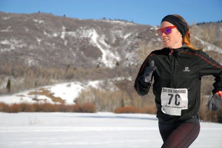 Anna Mae running the relay a day after winning the 10k snowshoe national championship. Credit: American Trail  Running Association ( ATRA). Nancy Hobbs