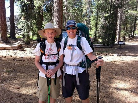 My oldest son, Aaron, and I backpacking in Lassen Park: Butte Lake/Cinder Cone Trailhead. Photo courtesy: Linda Powell