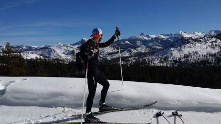 Winter cross training on XC skis. Photo: Chaz Sheya